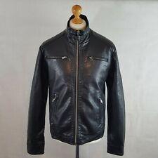 Hi Buxter Men Biker Jacket Black Size 40 Eur 50 PU Faux Leather Lined