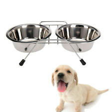 Double  Dog  Water  Pet Bowls Food   Feeding  Feeding  Non Slip Stainless Steel
