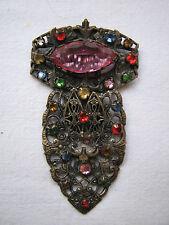 Vintage Deco Czech Large Multi Coloured Glass Stones Filagree Clip Clasp