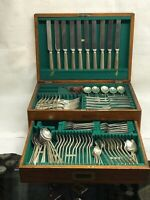Edwardian Canteen Of Cutlery Cased In An Oak Cabinet