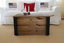 Holzkiste Truhe Couchtisch Vintage Shabby Landhaus Massivholz alt Antikbraun