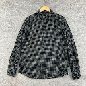 Uniqlo Mens Button Up Shirt Size M Medium Black Check Long Sleeve Slim 200.20