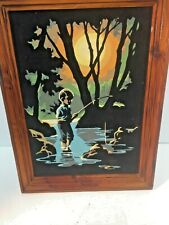 Vintage Paint by Number on Velvet approx 10 x 14 Young Boy Fishing Framed