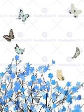 BLUE FLOWERS BUTTERFLY DRAWING ILLUSTRATION ART PRINT POSTER PICTURE BMP1805B