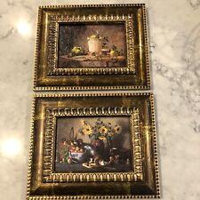 """Still Life Paintings (2) Framed Vintage 9.5"""" X 11.5"""""""