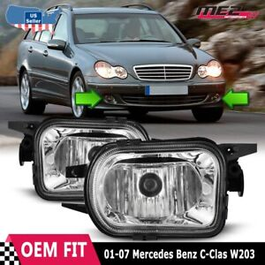 For Mercedes Benz C-Class 01-07 Factory Replacement Fit Fog Lights Clear Lens