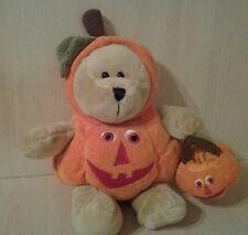 "2008 Starbucks Teddy Bear Pumpkin Costume plush 12"" Stuffed animal"