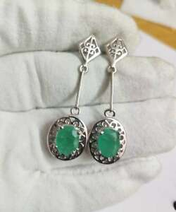 Silver Emerald Earrings High Quality 5.2 Ct Natural emerald earrings 7x9 mm Oval