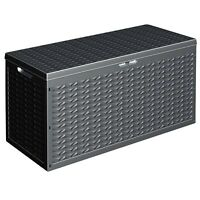 320L Large Outdoor Cargo Garden Storage Roller Box Plastic Container Chest Lid