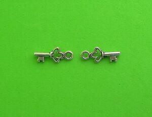 50x Key Tibetan Silver Charm Pendant