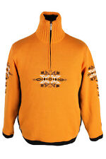 Vintage Campagnolo Nordique Col Haut Pull Pull Noël Wear jaune L IL757