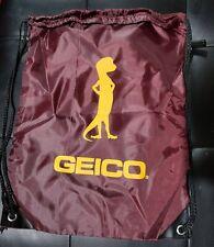 Geico Drawstring Cinch Sack Backpack School Tote Gym Beach Travel Bag Maroon