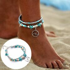 Boho Jewelry Charms Beach Foot Chain Bracelet Waves Pendant Starfish Anklets