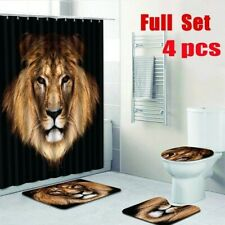 Lion Face  Waterproof Shower Curtain Anti Slip Rug Toilet Seat Cover Set