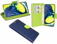 BOOK-Style Zubehör Hülle Fancy Tasche für Samsung Galaxy A80 (A805F) Blau-Grün