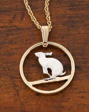 "Rabbit, Snowshoe Canada Coin Pendant Necklace. Hand cut - 7/8""diameter ( # 50 )"