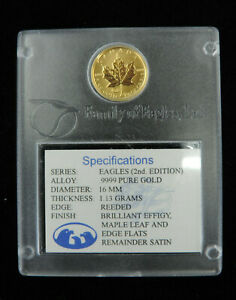 1998 1/10 oz $5 Eagles Privy Gold Maple Leaf Coin 2nd Edition .9999 Pure Au