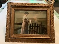 Antique Victorian Woman Reading Letter Print In Ornate Gesso on Wood Frame