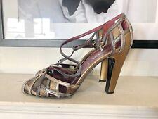Prada Gold Bronze Open Toe Heels 38.5