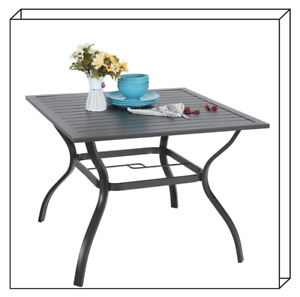 """37"""" Patio Outdoor Dining Table Square Bistro Table With Umbrella Hole"""
