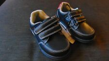 Mothercare Faux Leather Double Rip Tape Strap Shoes UK6 Infant Navy BNWT