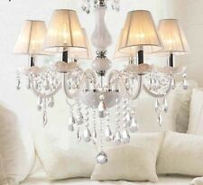 Chandelier For Home Ceiling Hanging Fixture Elegant Crystal Drops Lampshade Lamp
