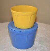 SET Vintage Stoneware Butter Cheese Crocks Jars & Lid  Blue Yellow