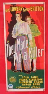 THEY MADE ME A KILLER ORIGINAL 1946  DAYBILL CINEMA MOVIE POSTER Robert lowery