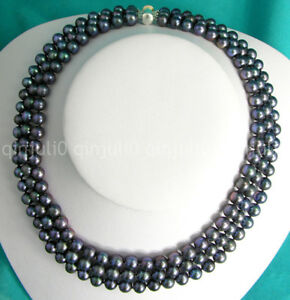 """New 3 Row 18"""" Black Round 6-7/7-8/8-9mm Cultured Freshwater Pearl Necklace"""