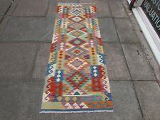 Vintage Kilim Traditional Hand Made Oriental Green Wool Kilim Runner 197x73cm