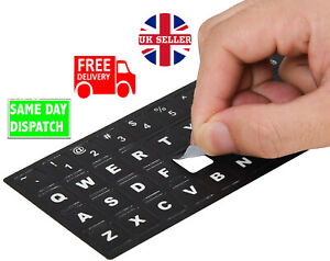 ENGLISH KEYBOARD STICKERS Black and White Letters for Qwerty Keyboards PC Laptop