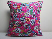 """Mexican Sugar Skulls Day Of The Dead Gothic Tattoo Cushion Cover Pink 16"""""""