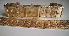GOLD FINISH GENEVA MEN'S NUGGET FASHION DRESSY/CASUAL WATCH AND BRACELET SET