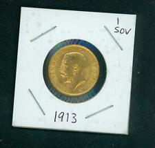1913 GOLD SOVEREIGN King GEORGE V Great Britain UK United Kingdom ENGLAND