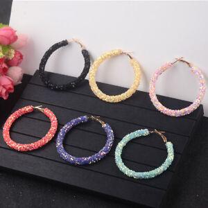 Women Multi-color Plated Big Round Shape Pierced Hoop Fashion Earrings Jewelry