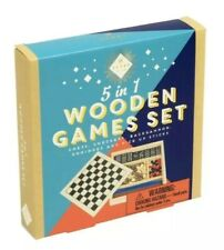 Wooden Games Travel Set 5 in 1 Chess Checkers Backgammon Dominoes, NEW