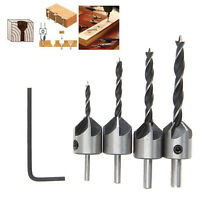 4 pcs/set HSS 5 Flute Countersink Drill Bit Set Screw Woodworking Chamfer 3-6mm.