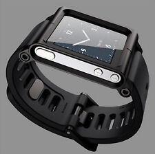 Black Aluminum Watch Band Wrist Band Bracelet Cover Case for Apple iPod Nano 6