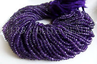 "13"" strand purple AMETHYST faceted gem stone rondelle beads 3.5mm - 4mm"
