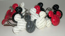 DISNEY MICKEY MOUSE EARS RED BLACK WHITE SET OF 12 SHOWER CURTAIN  HOOKS