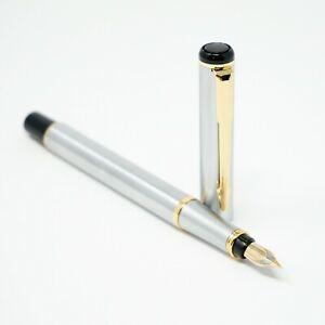 BAOER #801 Stainless Steel Flighter Metal Fountain Pen FINE Nib Gold Trim - UK!