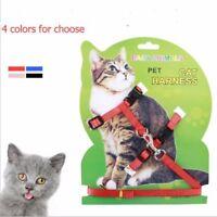4Colores Nylon Mascotas Gato Arnés con Correa Ajustable Cinturón Tracción Collar
