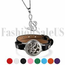 Stainless Steel Rhinestone Treble G Clef Music Note Pendant Necklace Bracelet