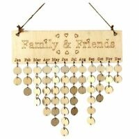 Family&Friends Hanging Calendar Wooden Board Birthday Reminder Plaque Home F7E9