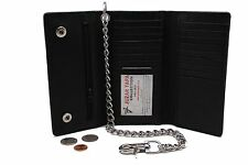 Biker 212 Leather Long Check Book Trifold wallet with Steel Chain 17 Card Slots