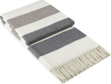 """55x79"""" Wool Cashmere Striped Gray THROW BLANKET WRAP Natural Warm Soft Cozy"""