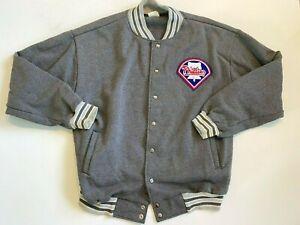 MLB Philadelphia Phillies Baseball Snap Button Jacket-Sweatshirt Men's XL