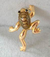 Vintage Handcrafted Enamel & Jet Black Crystal Climbing Brown Frog Pin Brooch