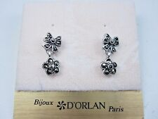with Marcasite Crystals 0654 D'Orlan Rhodium Plated Pierced Earrings