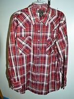 HIGH NOON Pearl Snap Western Shirt Long Sleeve Red White Navy Plaid Size XL